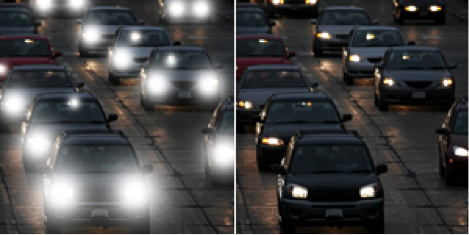 A picture of traffic with bright headlights vs. the same picture with antireflection where the lights are much less bright