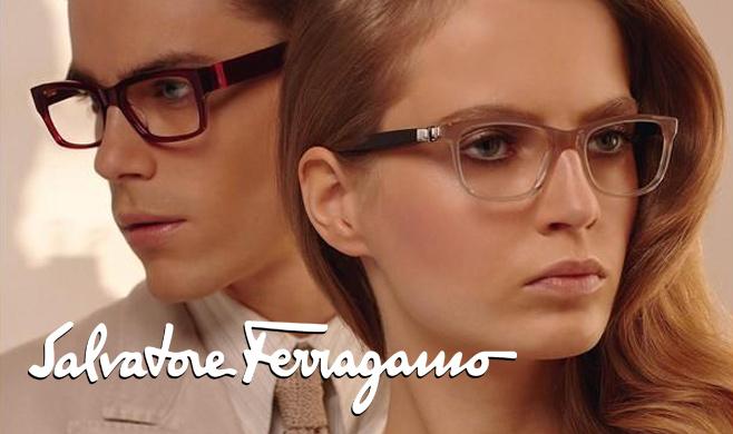 Two models wearing Salvatore Ferragamo glasses